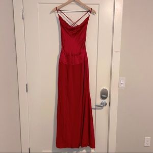 Nicole Miller Collection Red Silk Gown Maxi Dress